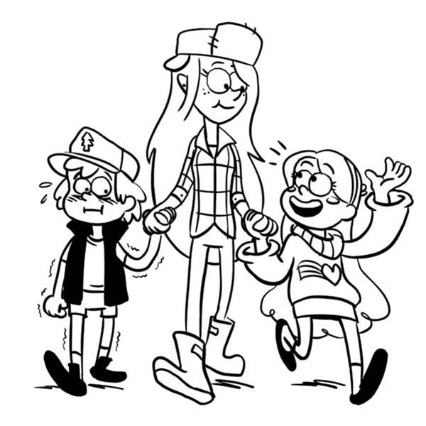 Gravity Falls, : Dipper Pines and Mabel Pines Walking with Wendy Corduroy Gravity Falls Coloring Page