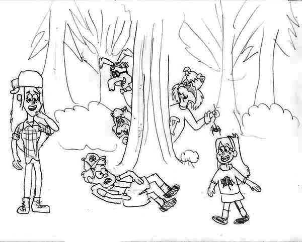 Gravity Falls, : Dipper Pines and Mabel Pines with Wendy Corduroy in the Wood Gravity Falls Coloring Page