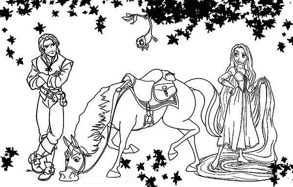 Rapunzel, : Disney Flynn, Maximus and Rapunzel Coloring Page