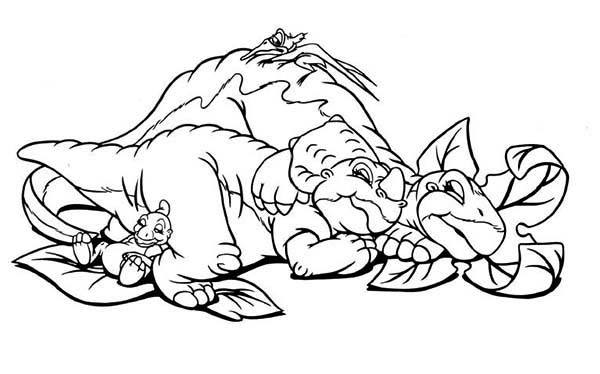 Land Before Time, : Ducky Little Foor Cera and Petrie Sleeping Land Before Time Coloring Page
