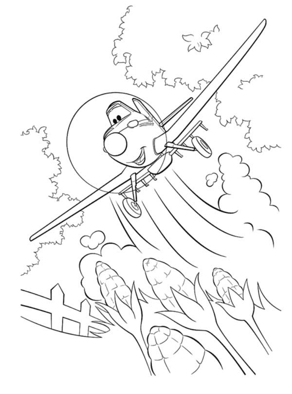 Disney Planes, : Dusty Flying Over the Corn Field in Disney Planes Coloring Page