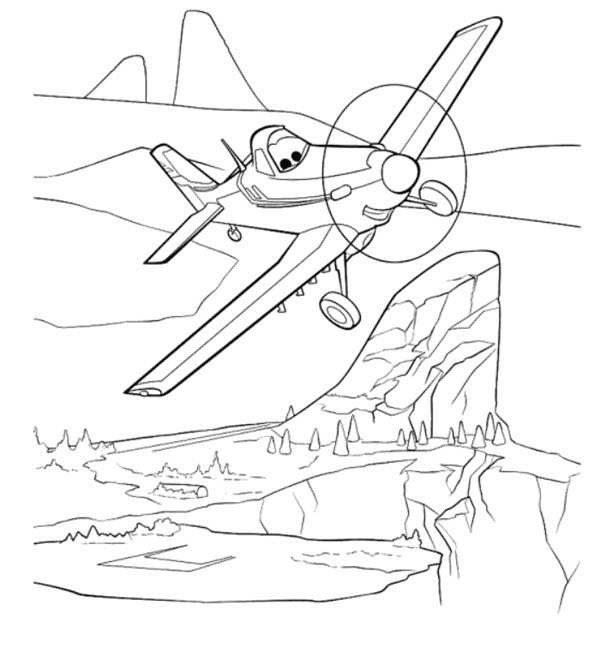 Disney Planes, : Dusty Flying Over the Mountain in Disney Planes Coloring Page