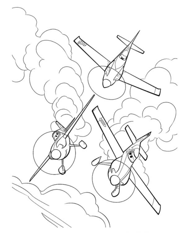 Disney Planes, : Dusty Met Ned and Zed on the Race in Disney Planes Coloring Page