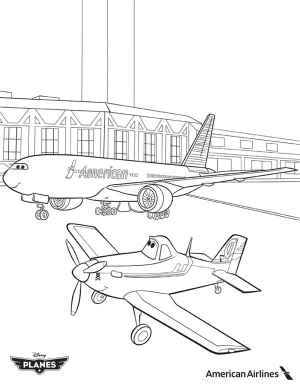 Disney Planes, : Dusty and American Airlines Plane in Disney Planes Coloring Page