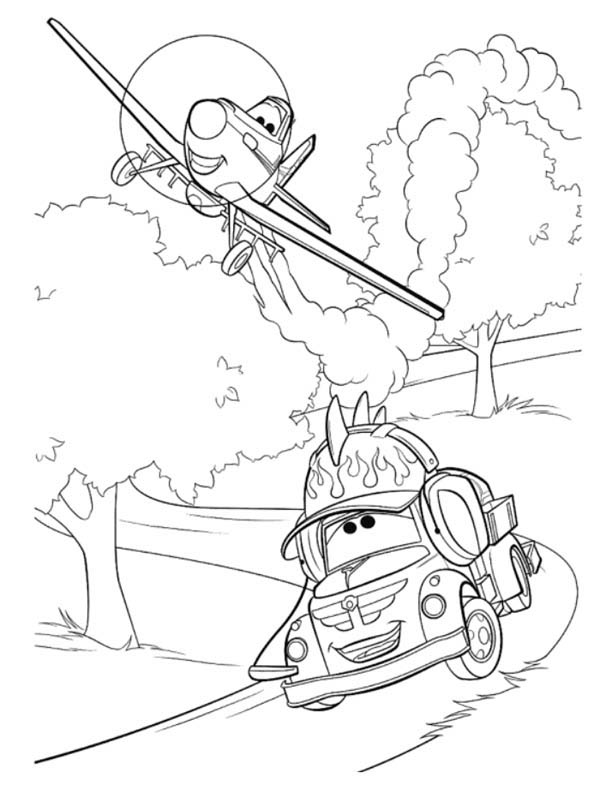 Disney Planes, : Dusty and Chug in Disney Planes Coloring Page