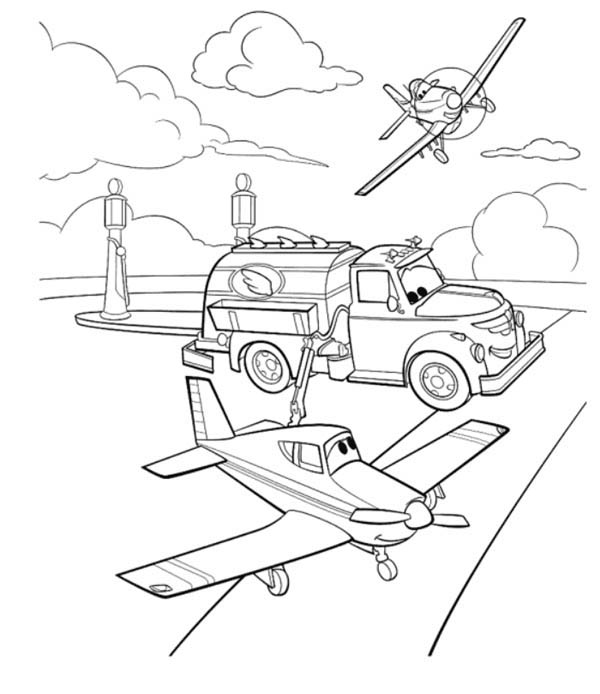 Disney Planes, : Dusty and Chug on the Airfield in Disney Planes Coloring Page