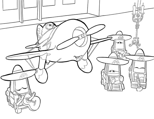 Disney Planes, : El Chupacabra and His Team in Disney Planes Coloring Page