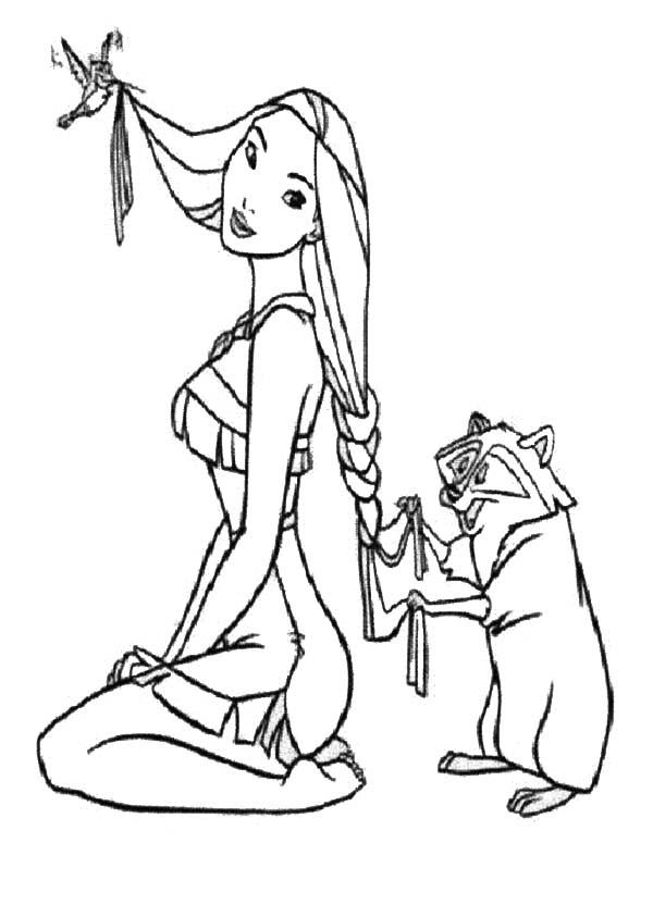 Pocahontas, : Flit and Meeko Pocahontas Coloring Page