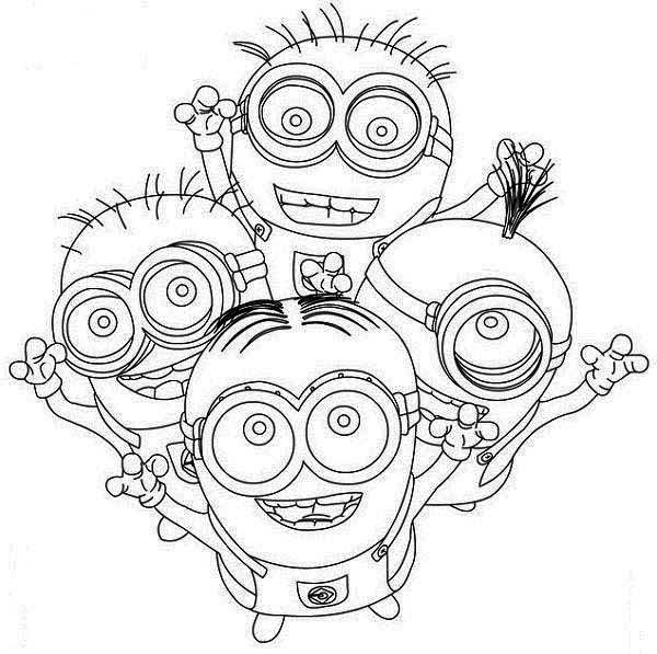 Minion, : Four Happy Minion Coloring Page