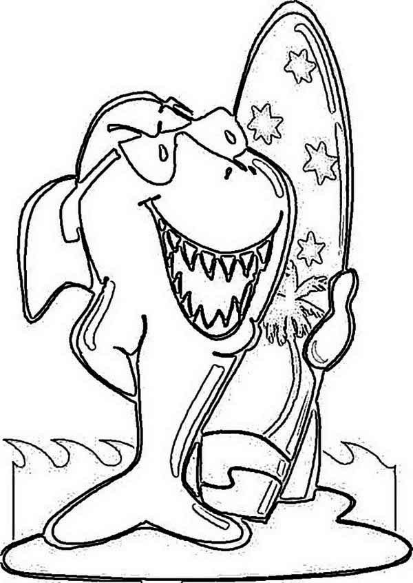 Australia Day, : Funky Shark and His Surf Board on Australia Day Coloring Page