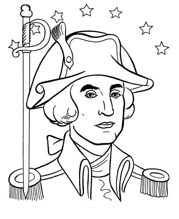 George Washington, : General George Washington During the Revolutionary War Coloring Page