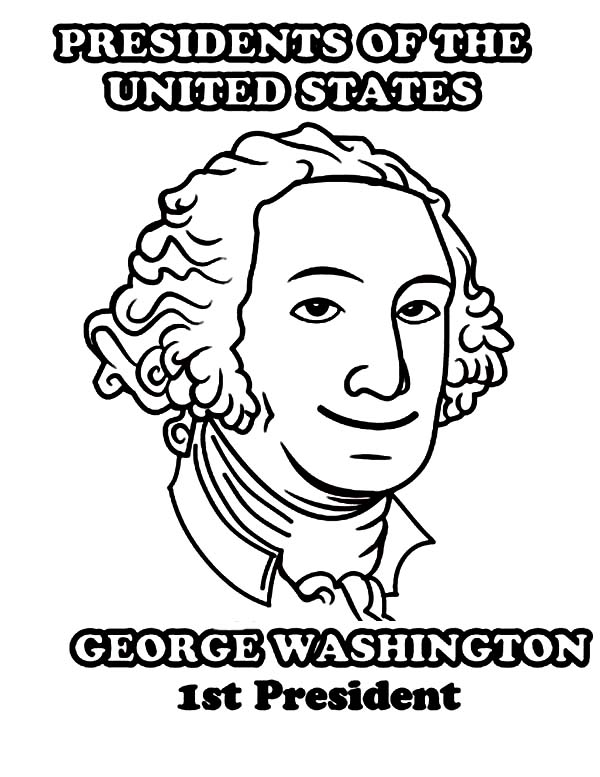 George Washington, : George Washington 1st President of United States Coloring Page