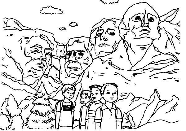 George Washington, : George Washington One of the Presidents in Mount Rushmore Coloring Page