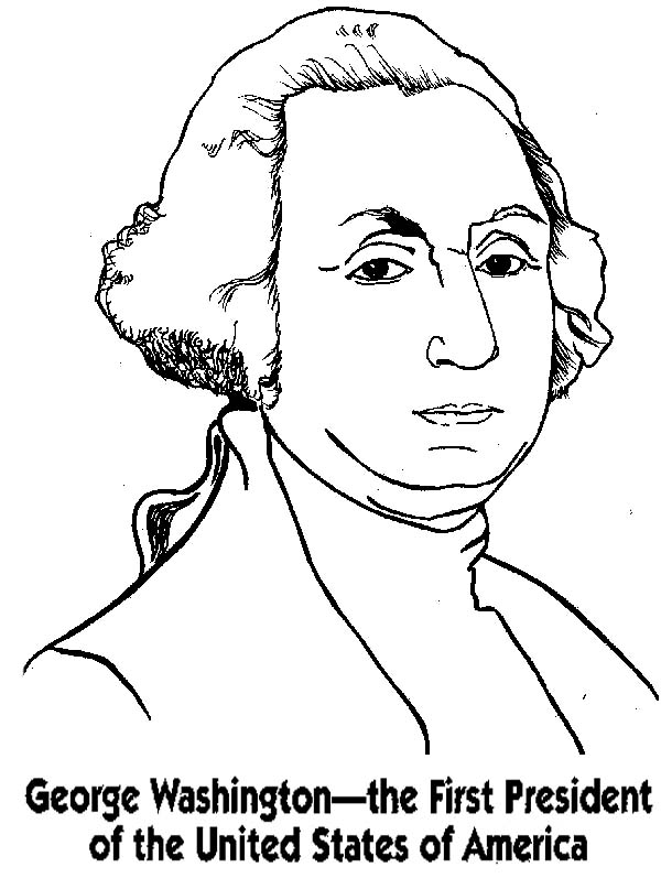 George Washington, : George Washington the First President of the United States of America Coloring Page