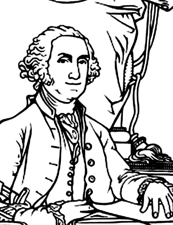 George Washington, : George Washington was Elected in 1788 Coloring Page