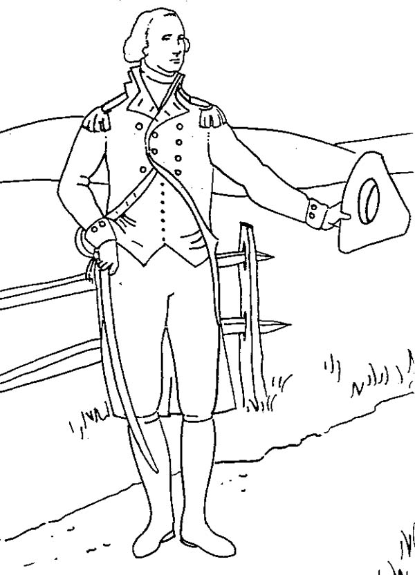 George Washington, : George Washington was from a Wealthy Farmer Family Coloring Page