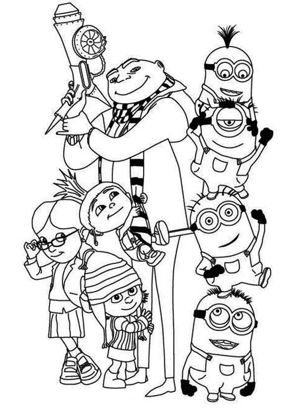 Minion, : Gru, Girls and The Minions Coloring Page