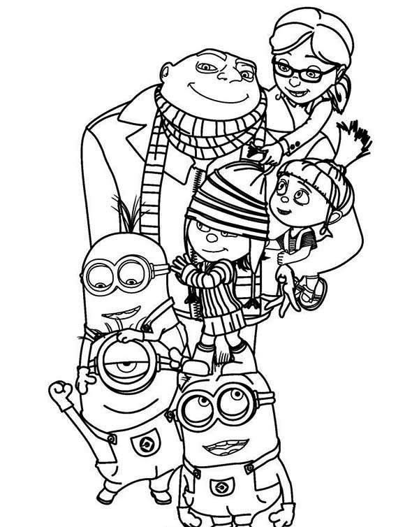 Minion, : Gru, Margo, Edith, Agnes and The Minion Coloring Page