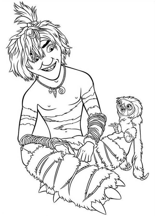 The Croods, : Guy and Belt are Two Best Friends in the Croods Coloring Page