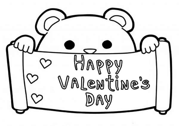 Valentine's Day, : Happy Valentine's Day Say This Cute Little Bear Coloring Page