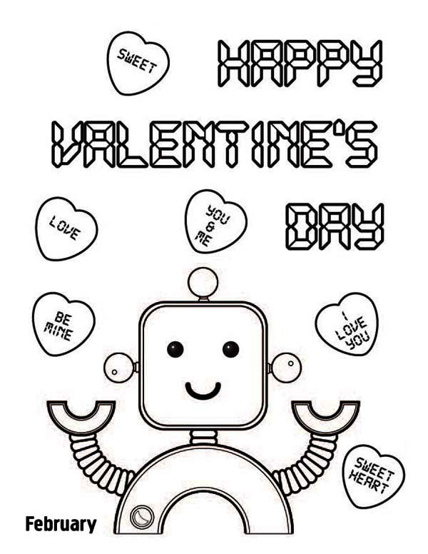 Valentine's Day, : Happy Valentine's Day Say the Cute Robot Coloring Page