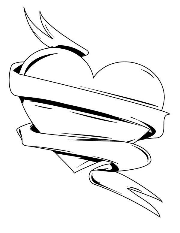 Valentine's Day, : Heart and Ribbon for Valentine's Day Decor Coloring Page
