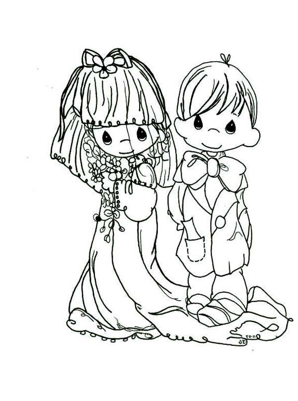 Precious Moments, : Holy Wedding Precious Moments Coloring Page