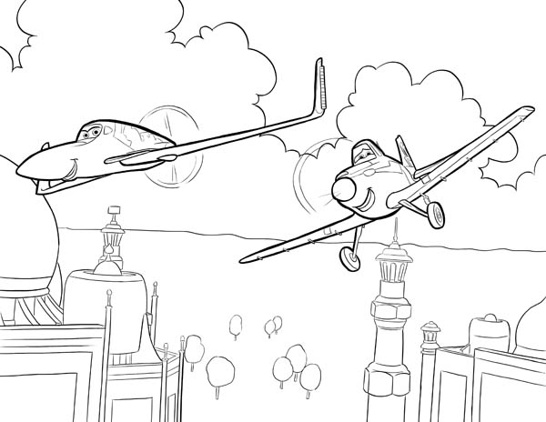Disney Planes, : Ishani and Dusty Flying Together in Disney Planes Coloring Page