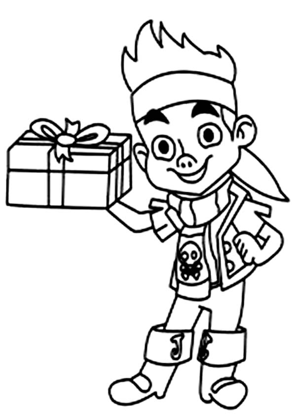Jake and the Neverland Pirates, : Jake Holding a Present Coloring Page