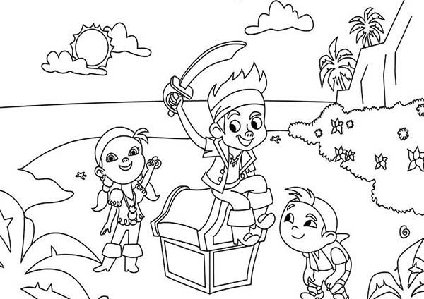 Jake and the Neverland Pirates, : Jake Izzy and Chubby Found a Treasure Chest Coloring Page