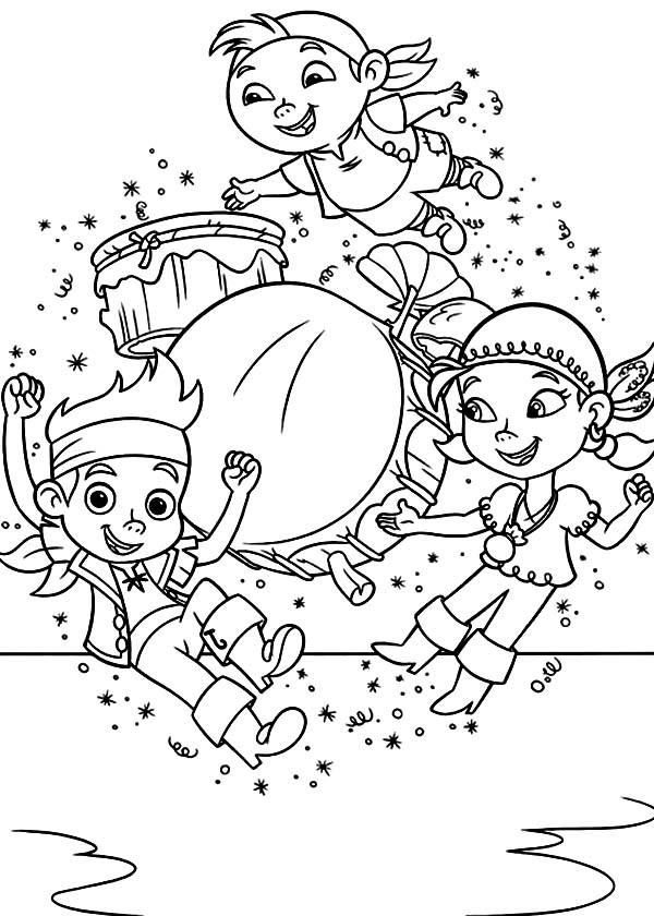 Jake and the Neverland Pirates, : Jake Izzy and Chubby are Having Fun Together Coloring Page
