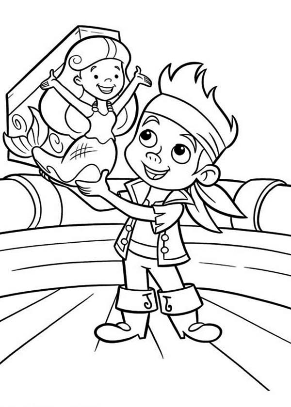 Jake and the Neverland Pirates, : Jake Saves the Young Mermaid from Captain Hook Coloring Page