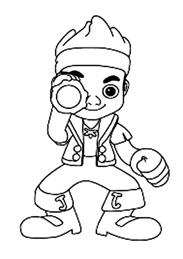 Jake and the Neverland Pirates, : Jake and His Spyglass Coloring Page