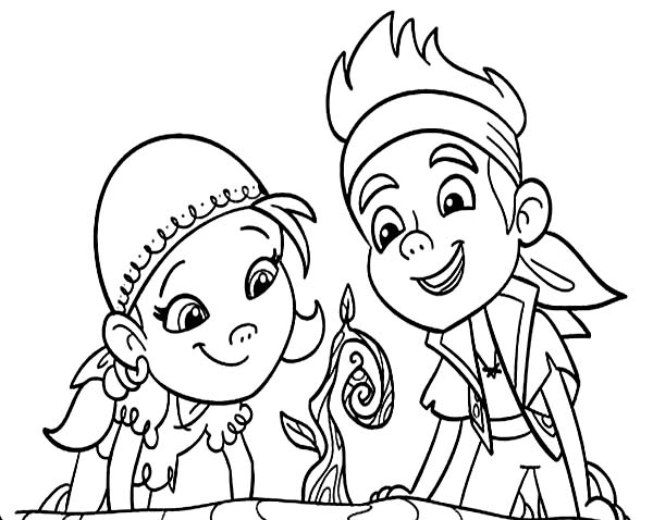Jake and the Neverland Pirates, : Jake and Izzy Watching Over a Grown Tree Coloring Page