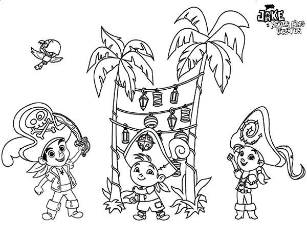 Jake and the Neverland Pirates, : Jake and the Neverland Pirates Having Party on the Beach Coloring Page