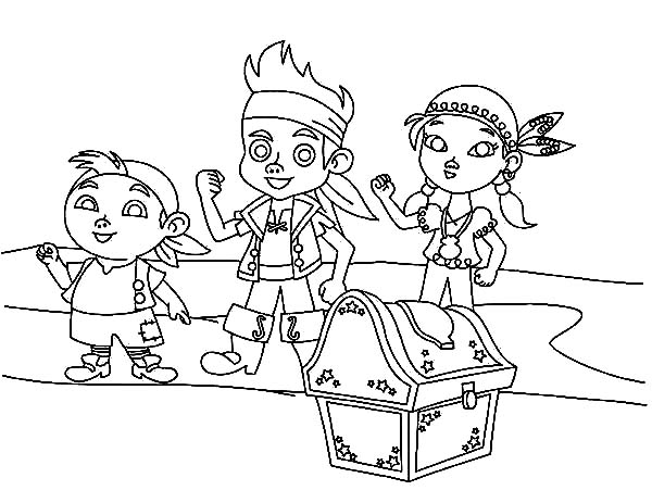 Jake and the Neverland Pirates, : Jake and the Neverland Pirates Team found Treasures Coloring Page