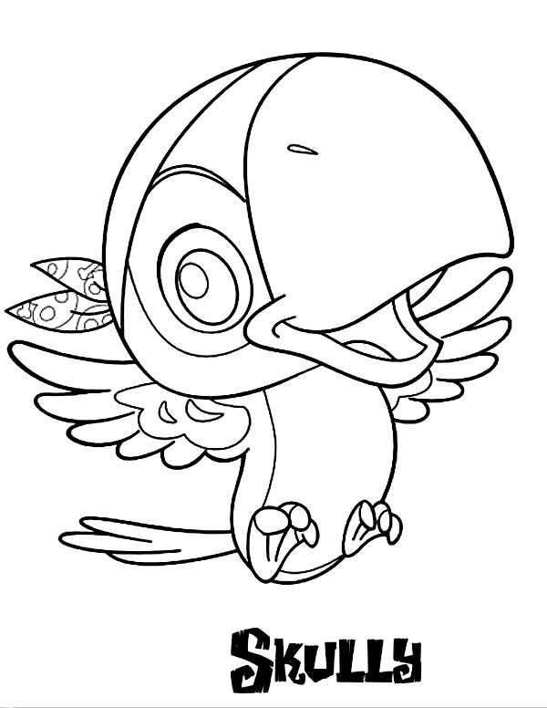 Jake and the Neverland Pirates, : Jakes Pet Sidekick Parrot Skully Coloring Page