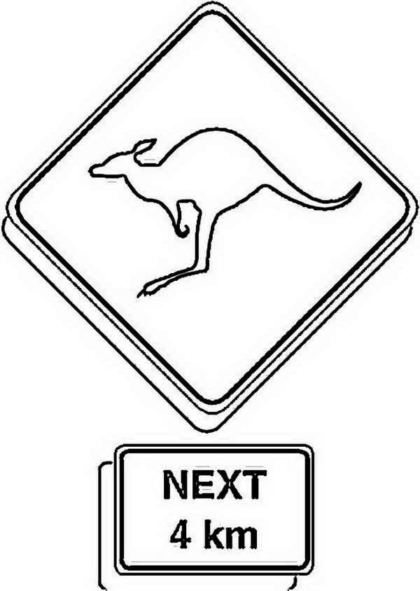 Australia Day, : Kangaroo Road Sign for Australia Day Decoration Coloring Page