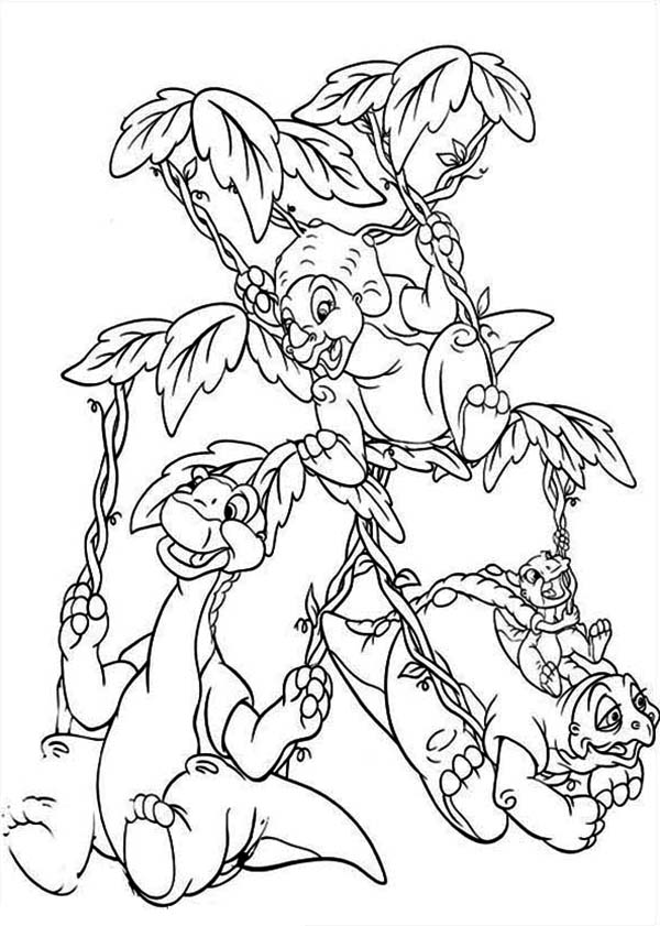 Land Before Time, : Land Before Time Family in the Jungle Coloring Page
