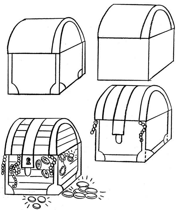 Treasure Chest, : Lets Learn to Draw Treasure Chest Coloring Page