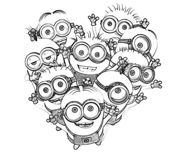 Minions coloring pages peace minion ~ Love The Minion Coloring Page : Kids Play Color