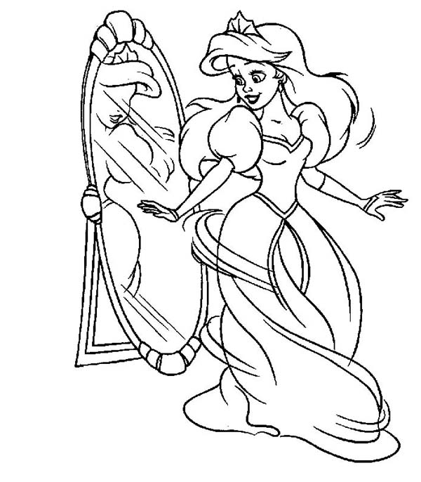 Disney Princesses, : Lovely Ariel in Her Human Form on Disney Princesses Coloring Page