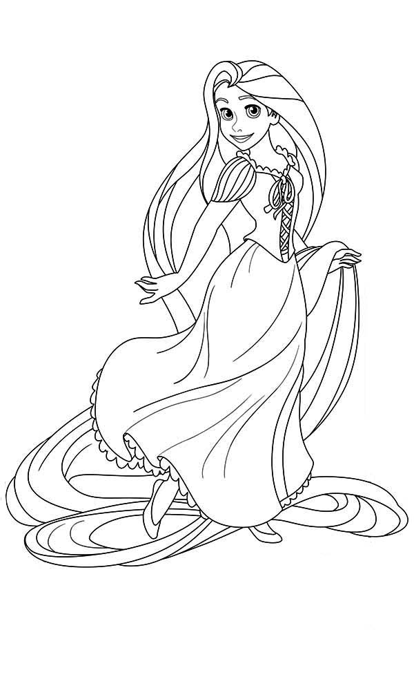 Rapunzel, : Lovely Princess Rapunzel Coloring Page