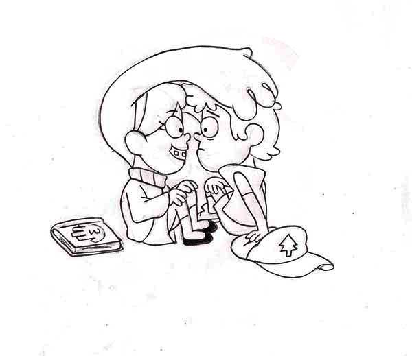 Gravity Falls, : Mabel Pines Hair is On the Dipper Pines Head Gravity Falls Coloring Page