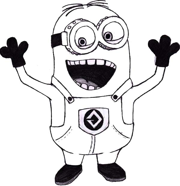 Minion, : Mark The Minion is Laughing Coloring Page