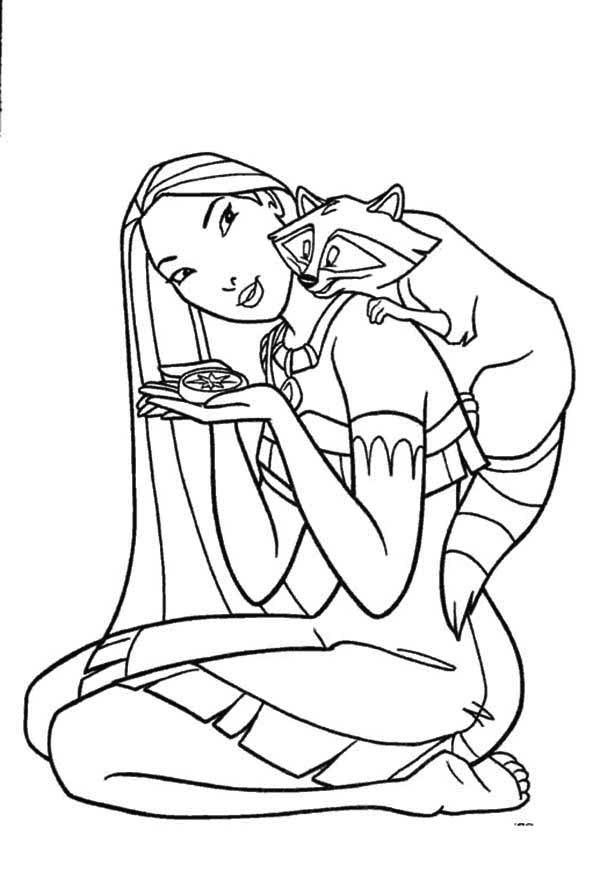 Pocahontas, : Meeko Climb Pocahontas Shoulder Coloring Page