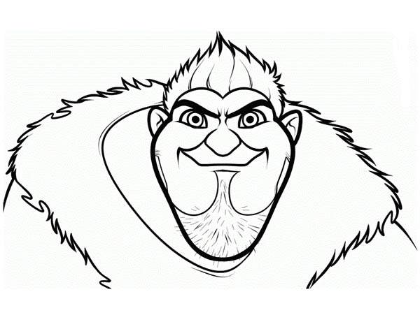 The Croods, : Meet Grug, the Over Protective Dad in the Croods Coloring Page