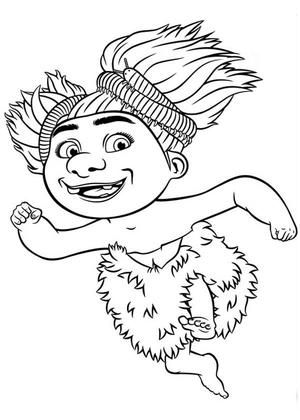 The Croods, : Meet Sandy, the Wild Child from the Croods Coloring Page