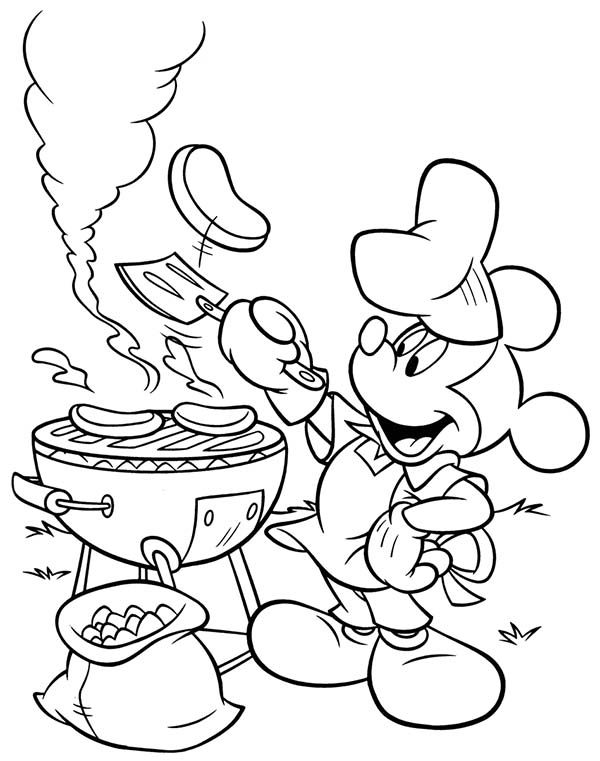 Mickey Mouse Clubhouse, : Mickey Doing a Barbecue in Mickey Mouse Clubhouse Coloring Page