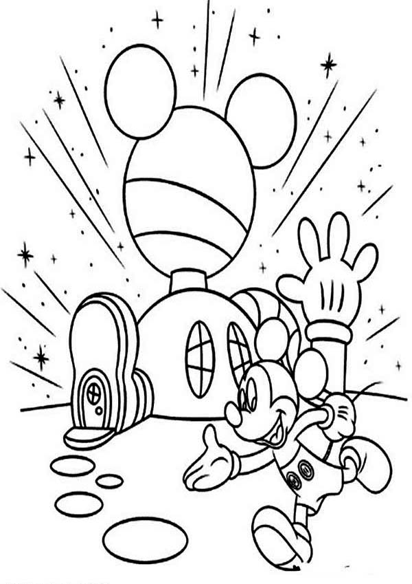 Mickey Mouse Clubhouse, : Mickey In Front of His Clubhouse Coloring Page